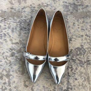Marc Jacobs Silver Metallic Ballet Flats